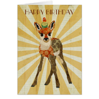 FAWN & BIRD Birthday Card