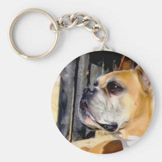 Fawn Boxer Dog keychain