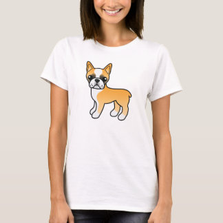 Fawn Cartoon Boston Terrier Drawing T-Shirt