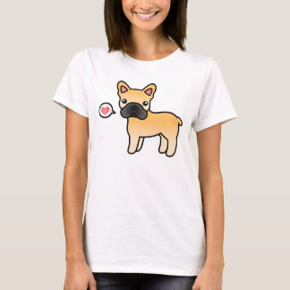 Fawn Cartoon French Bulldog Love T-Shirt