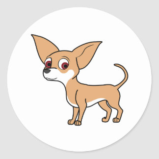 Fawn Chihuahua with White Markings Round Sticker