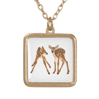 Fawn-d of You Square Pendant Necklace