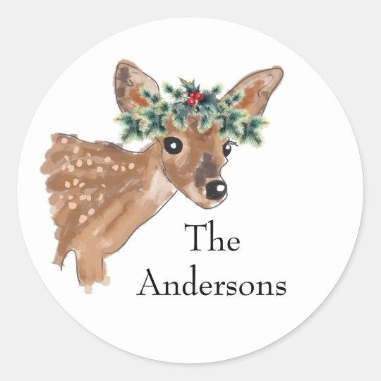 Fawn Deer Custom Holiday Envelope Seals