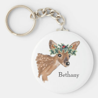 Fawn Deer Personalized Christmas Keychain