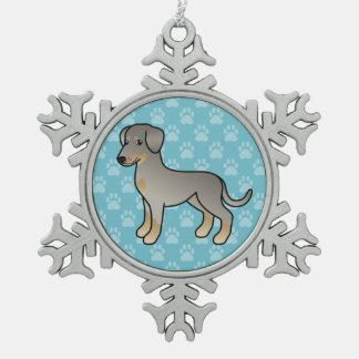 Fawn Doberman / German Pinscher Dog Snowflake Pewter Christmas Ornament