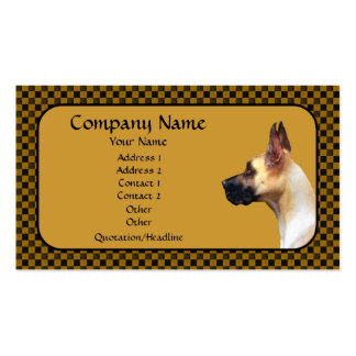 Fawn Great Dane Brown Check Business Card
