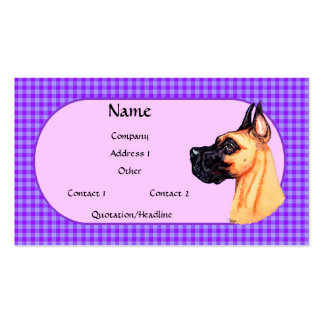 Fawn Great Dane Check Business Card