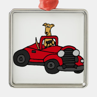 Fawn Greyhound Dog Driving Red Convertible Christmas Ornament