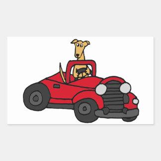 Fawn Greyhound Dog Driving Red Convertible Rectangular Sticker