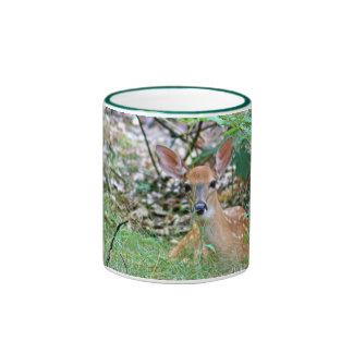 Fawn in ferns ringer mug