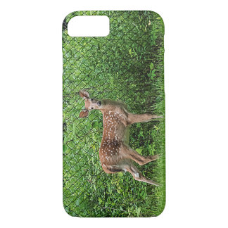 Fawn in front of a fence iPhone 7 case