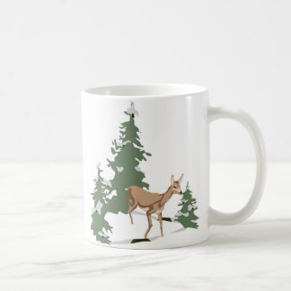 Fawn in Winter's Forest Basic White Mug