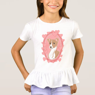 Fawn Italian Greyhound Girls' Ruffle T-Shirt