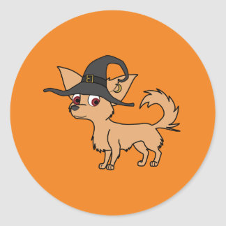 Fawn Long Haired Chihuahua with Witch Hat Round Sticker