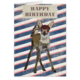 FAWN & OWL Birthday Card