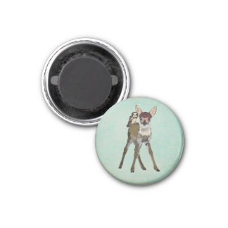 FAWN & OWL Magnet 1 Inch Round Magnet