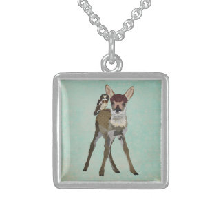 FAWN & OWL Necklace Square Pendant Necklace