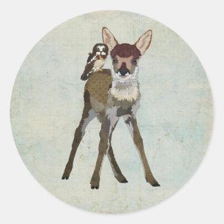 FAWN & OWL Sticker Round Sticker