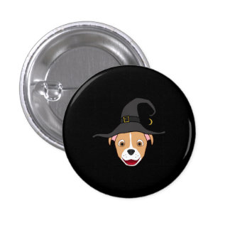Fawn Pitbull with Blaze & Witch Hat 3 Cm Round Badge