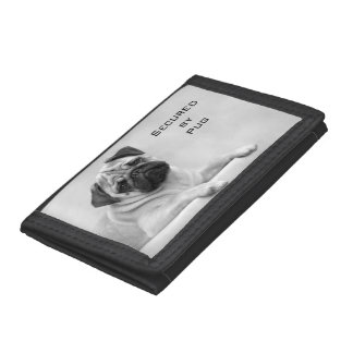 Fawn Pug Dog Looking front. Black and White Tri-fold Wallet