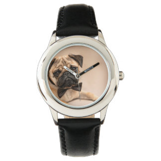 Fawn Pug Dog with Bow Tie. Retro Style Clock Watch