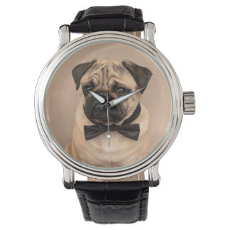 Fawn Pug Dog with Bow Tie. Retro Stylish Clock Watch
