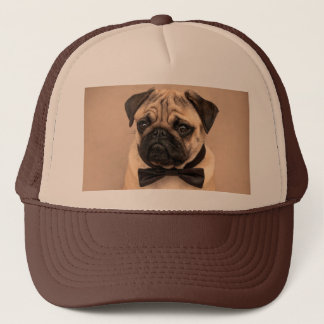 Fawn Pug Dog with Bow Tie Trucker Hat