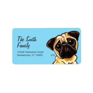 Fawn Pug Face Large Custom Color Label