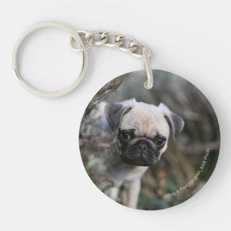 Fawn Pug Puppy Headshot Double-Sided Round Acrylic Key Ring