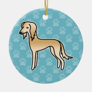 Fawn Saluki Cartoon Dog Round Ceramic Decoration
