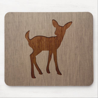 Fawn silhouette engraved on wood design mouse pad