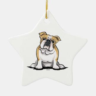Fawn White Bulldog Sit Pretty Ceramic Star Decoration