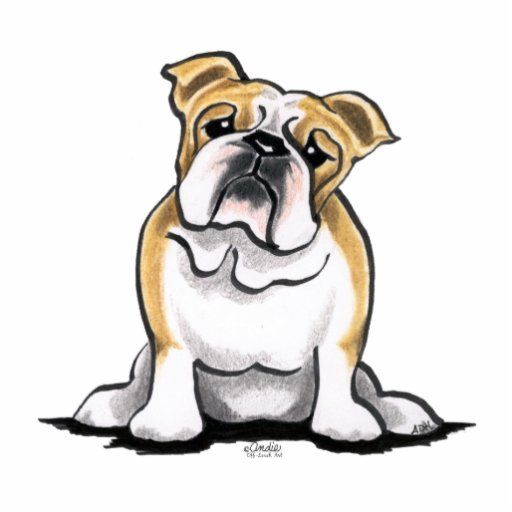 Fawn White Bulldog Sit Pretty Acrylic Cut Outs