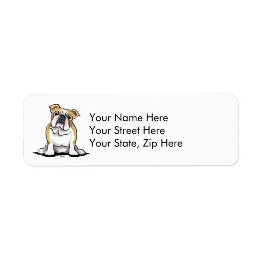 Fawn White Bulldog Sit Pretty Return Address Label