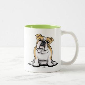 Fawn White Bulldog Sit Pretty Two-Tone Mug