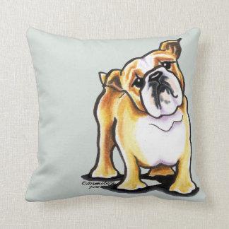 Fawn White English Bulldog Portrait Cushion
