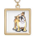 Fawn White English Bulldog Portrait Pendants