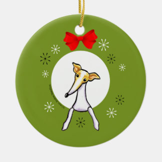 Fawn White Italian Greyhound Christmas Classic Round Ceramic Decoration