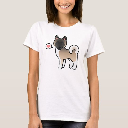 Fawn With Black Mask Akita Dog With A Heart T-Shirt