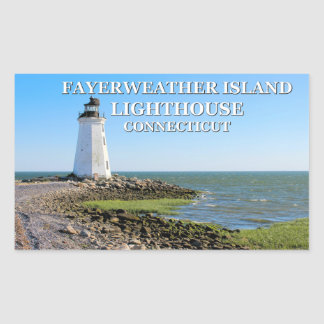 Fayerweather Island Lighthouse, Connecticut Rectangular Sticker