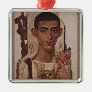 Fayum portrait of Ammonius, from Antinoe Silver-Colored Square Decoration