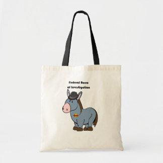 FBI Federal Burro of Investigation Donkey Cartoon Tote Bags