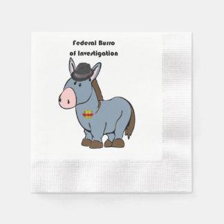 FBI Federal Burro of Investigation Donkey Cartoon Paper Napkin