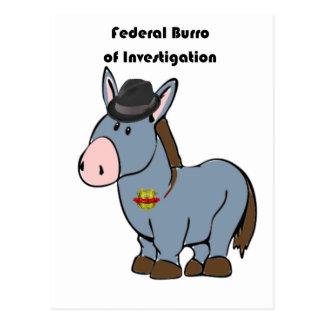 FBI Federal Burro of Investigation Donkey Cartoon Postcard
