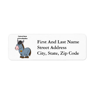 FBI Federal Burro of Investigation Donkey Cartoon Return Address Label