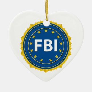 FBI Seal Ceramic Heart Decoration