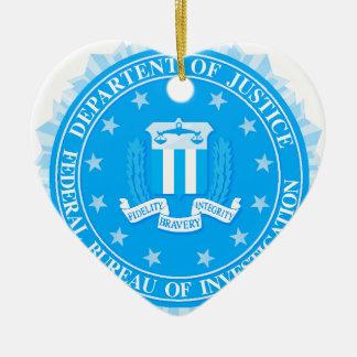 FBI Seal In Blue Ceramic Heart Decoration