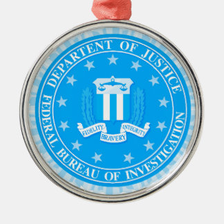 FBI Seal In Blue Silver-Colored Round Decoration