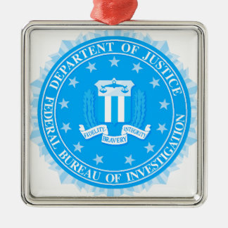 FBI Seal In Blue Silver-Colored Square Decoration