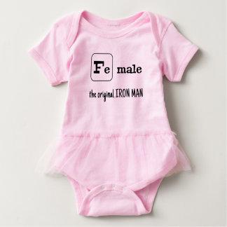 Fe male sports pun iron element baby bodysuit